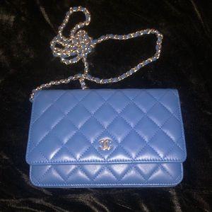 CHANEL Crossbody Blue Wallet on Chain